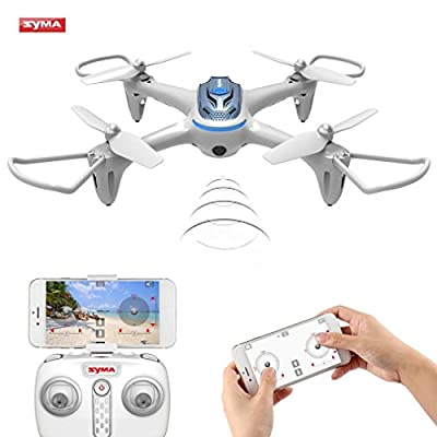 Syma X15W WIFI FPV Drone with Camera Real Time Video 2.4GHz 4CH 6-Axis Gyro APP Control RC Quadcopter with Flight Plan, Altitude Hold, 3D Flips, Headless Mode, One Key to Return and LED Lights