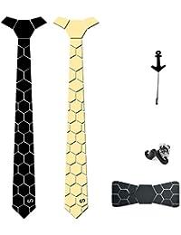 COCO CHANEL Men's Reversible HexTie and 2 Lapel Pins (Black and Golden)