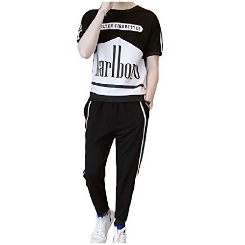 CuteRose Men Short Sleeve Printed Pants Short-Sleeve Crewneck 2-Piece Tracksuit Outfit White M Velours-activewear-set