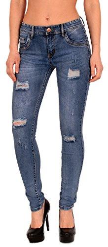 by-tex Damen Röhrenjeans Skinny Jeans Destroyed Jeanshose bis Übergröße 46, 48, 50, # J312 Plus Size Skinny Jeans Groß
