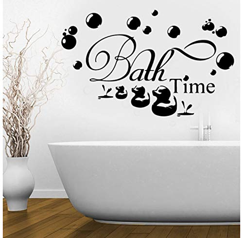 Wiwhy Bath Time Wall Stickerr Bath Ducks Soak Relax Quote Wall Decal Bathroom Art Decor Mural Removable Vinyl Decals Diy Stickerr 92X57Cm