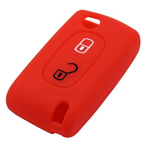 Happyit Llavero de Silicona Caso Clave de la Cubierta del Control Remoto para 2 Botones Doblar Clave Peugeot 107 208 207 3008 308 RCZ 508 408 2008 407 307 206 (Rojo)