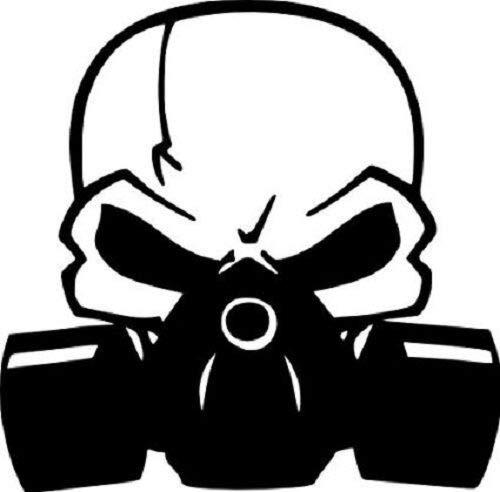 Pegatina Promotion Totenkopf mit Gasmaske Skull Schädel typ2 20cm Aufkleber,Autoaufkleber,Lack,Scheibe,Wand, UV& Waschanlagenfest Profi Qualität UV& Waschanlagenfest,Profi Qualität