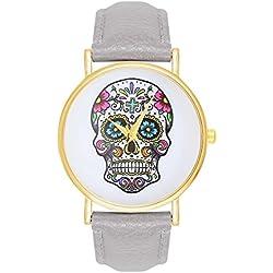 Women's watch Sugar Candy Skull Tattoo Skull Skull Grey Gold Watch Watch Watch Trend Trenduhren Skulls Skull Pirate Costume Anchor World Map La Boheme Dalas MINGBO Bijou