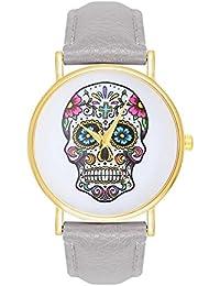 Damenuhr Sugar Candy Skull Tattoo Totenschädel Schädel Farbe: Grau Gold Armbanduhr Uhr Uhren Trend Trenduhren Pirat Kostüm Skulls Totenkopf La Bohème Anker Weltkarte Dalas Mingbo Bijou