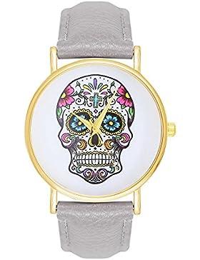 Damenuhr Sugar Candy Skull Tattoo Totenschädel Schädel Farbe: Grau Gold Armbanduhr Uhr Uhren Trend Trenduhren...