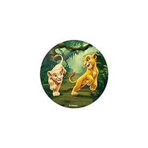 Disque azyme comestible ROI LION DISNEY pour décoration de gâteau - Modèle SIMBA ET NALA BEBE - 20cm