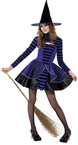 Teen &ältere mädchen-lila schwarz Hexe dunkel Fee Halloween Horror unheimlich Kostüm Kleid Outfit 12 Jahre +