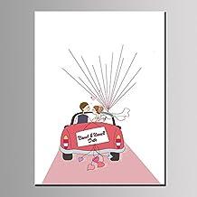 Bubugong Pintura de la lona del árbol de la huella digital de la firma del coche de la novia de la boda DIY con un Inkpad