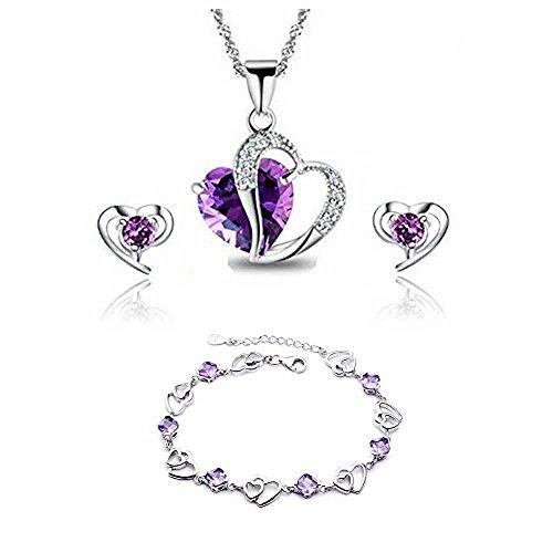findout azul blanco collar de amatista colgante de cristal de color rosa roja corazón de la plata + pendientes pulsera conjunto, para las mujeres niñas. (F497)