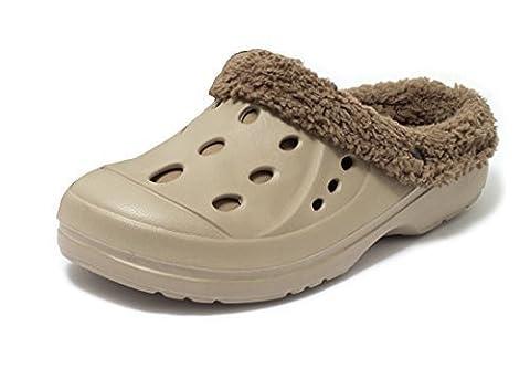 Damen Winter und Sommer Clogs Hausschuhe Gartenschuhe Slipper Schuhe Freizeitclogs mit herausnehmbarem Futter Gr. 41 BEIGE
