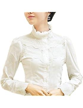 Nonbrand Camisa para mujer de manga larga, diseño con encaje, estilo victoriano vintage