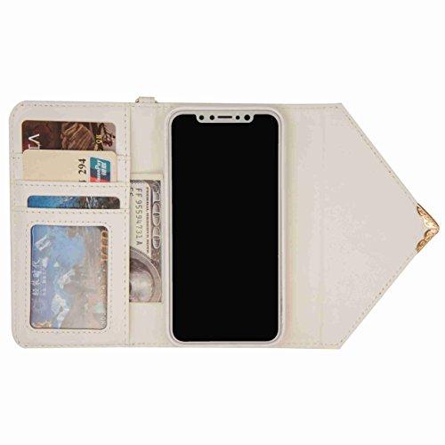 inShang Custodia per iPhone X 5.8 inch con design integrato Portafoglio, iPhoneX 5.8inch case cover con funzione di supporto. white