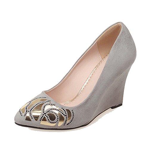 AllhqFashion Damen Spitz Zehe Hoher Absatz Gemischte Farbe Ziehen auf Pumps Schuhe, Rot, 42