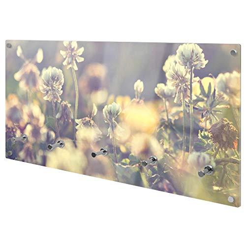 banjado Wandgarderobe aus Echtglas | Design Garderobe 80x40x6cm groß | Paneel mit 5 Haken | Flurgarderobe für Jacken und Mäntel | Garderobenleiste mit Motiv Blumenmeer