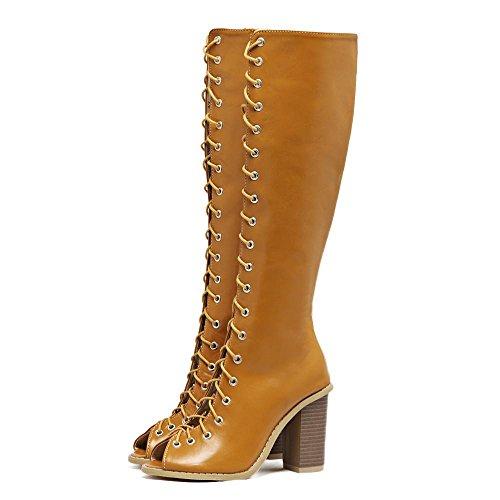 LvYuan-mxx Sandales Femme / Eté Retro sangle creuse / Talon Chunky / poitrine ouverte orteil / Bureau & Carrière / Vêtements / Casual / Hollow-out / sexy / bottes romaines 38-LIGHTBROWN