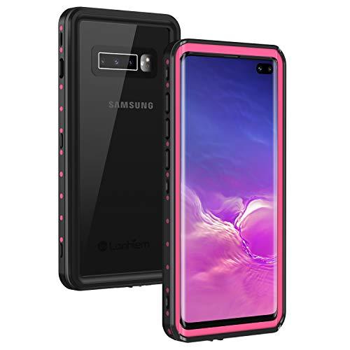 Lanhiem für Samsung Galaxy S10 Plus Hülle, [IP68 Zertifiziert] Wasserdicht Schutzhülle, Stoßfest Staubdicht und Outdoor Handy Hülle mit Eingebautem Displayschutz - Pink