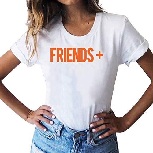 (CAOQAO Einfaches Muster Damen Plus Size Print Tees Shirt Kurzarm T Shirt Bluse Tops Mode LäSsig Tunika (L,Weiß))
