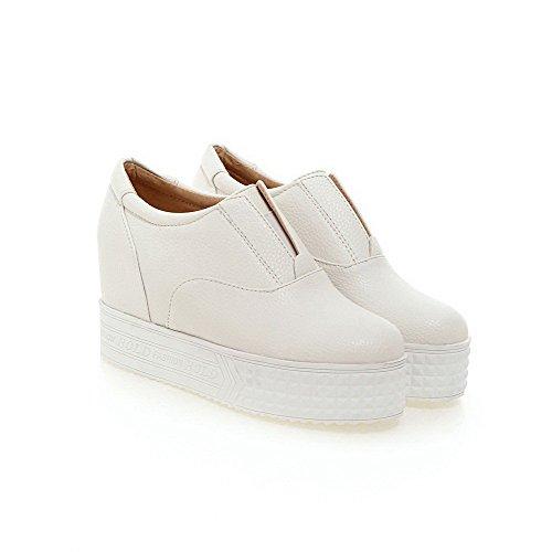 Unie Haut Talon Tire Matière Légeres Souple Chaussures à Blanc Odomolor Femme Couleur Rond twqg0w1Z