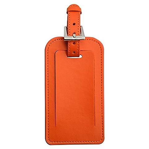 étiquette pour bagage en microfibre, Sac en cuir Tag ID Identificateur étiquettes pour voyage Valise Bagage Valise étiquette Sports Sacs, orange