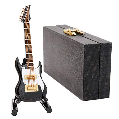 Odoria 1/12 Miniatura Guitarra Negro con Caso y Stand Instrumento Musical para Muñecas