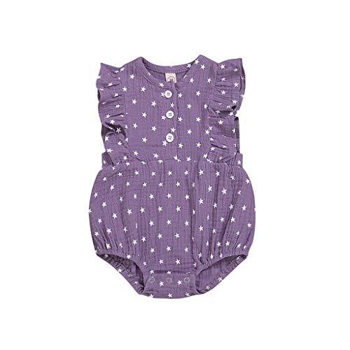 Fenverk_Baby Kleidung Set Strampler Overall Neugeborenes MäDchen Jungen Kurzarm Kleinkind Jumpsuit Outfits Spielanzug Babykleidung Kleider Junge Kurzschluss HüLsen T-Shirt(Lila-01,0-6 Monate)