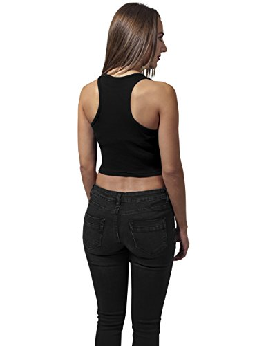 Urban Classics TB1498s Damen Ladies Cropped Rib Top Schwarz (Black 7)