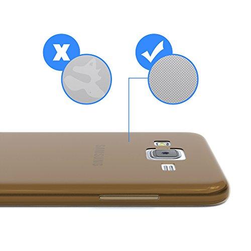 Samsung Galaxy J5 (altes Modell) Hülle - EAZY CASE Ultra Slim Cover Handyhülle - dünne Schutzhülle aus Silikon in Transparent Clear Braun