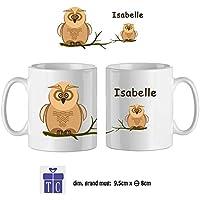 Texti-cadeaux-Mug Chouette-personnalisé avec un prénom exemple Isabelle