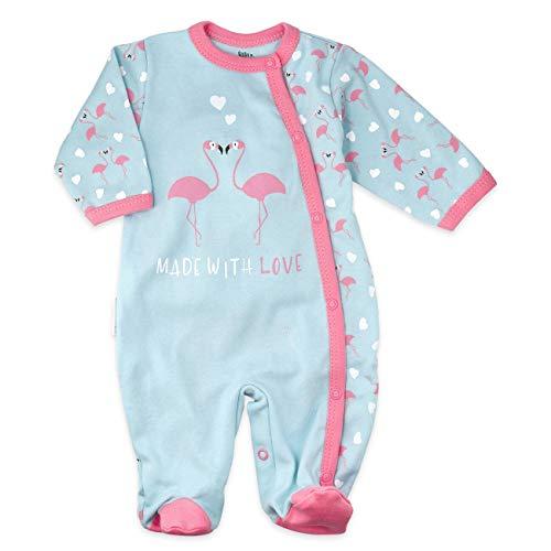 Baby Sweets Baby Strampler Mädchen türkis rosa | Motiv: Made with Love | Babystrampler mit Flamingos und Herzen für Neugeborene & Kleinkinder | Größe: 3-6 Monate (68)...
