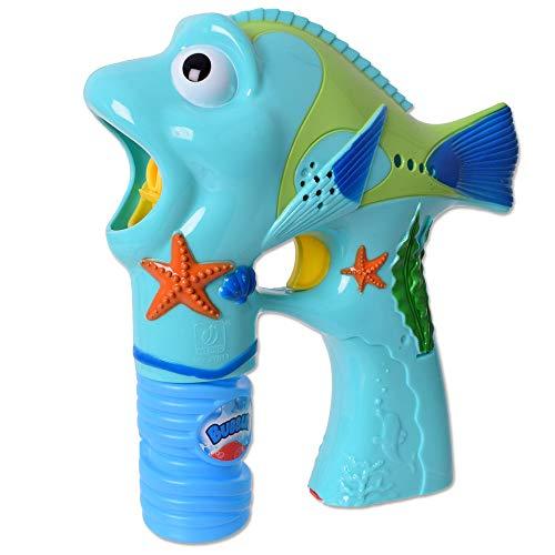 TE-Trend Motiv Seifenblasenpistole Fisch Bubble Gun LED Sound Seifenblasen Werfer Gartenspiele Hochzeit Kinder Pistole Mehrfarbig