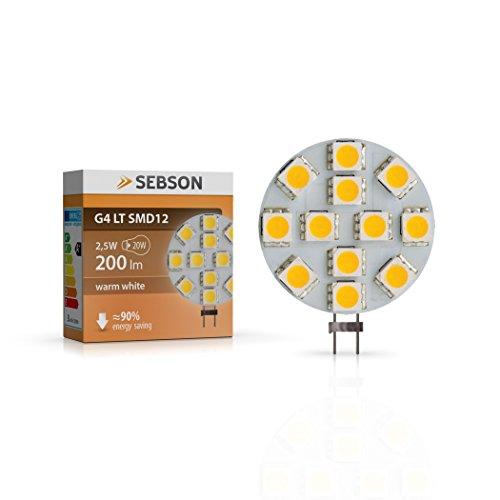 LED Lampe G4 warmweiß 3W (2.5W), ersetzt 20W Glühlampe, 200lm, GU4 LED Stiftsockel 12V DC, Leuchtmittel 110°