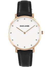 Alienwork Classic St.Mawes Reloj cuarzo elegante cuarzo moda diseño atemporal clásico Piel de vaca oro rosa negro U04817L-03