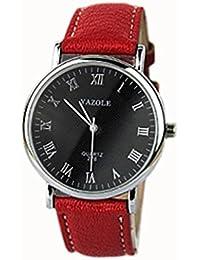 Malloom® moda mujeres dama cuero cuarzo analógico Relojes de pulsera negro