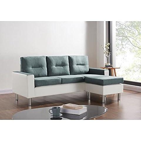 Elena canapé d'angle réversible et modulable en simili et tissu 3 places + pouf - 193x130x85 cm - gris et blanc