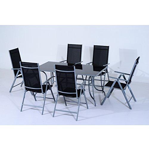 Outsunny Set Mobili da Giardino Tavolo con 6 Sedie Pieghevoli in Alluminio e Tessuto di Textilene - 4