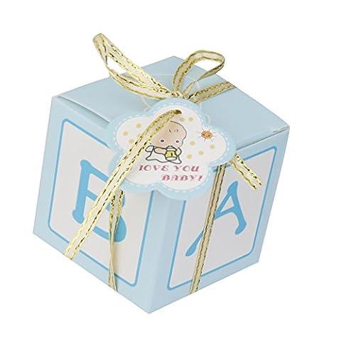 Lot 12pcs Boîte à Bonbons Bonbonnières Sac Cadeau Emballage Mariage Baby Shower - Bleu, Baby shower