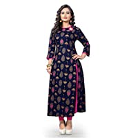 Delisa Women Dress Printed Kurti for Women Formal & Party Wear 183-8 (Blue 188, 46)