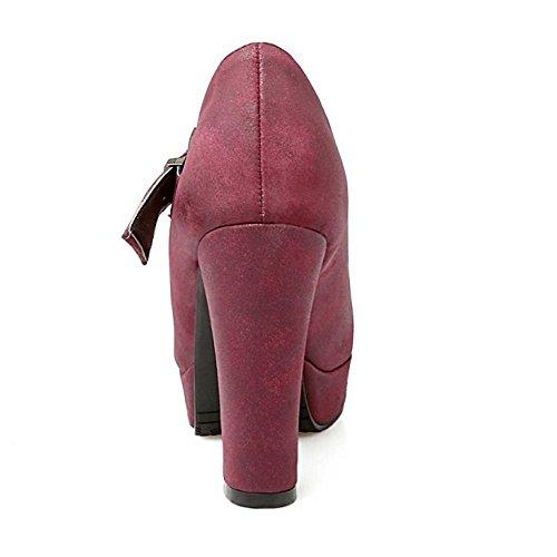 COOLCEPT Femme Nouvaux Mode Sangle T Bloc Talon Haut Chaussures Escarpins Bas Rouge