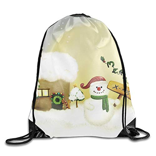 uykjuykj Tunnelzug Rucksäcke, Snowman X Mas Drawstring Backpack Goodie Bags,Promotional Gym Sack for Birthday Party Snowman x mas8 Lightweight Unique 17x14 IN