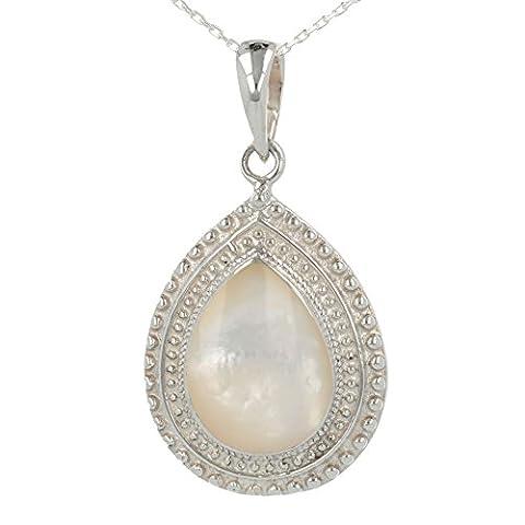 Cadeau bijoux cabochon-Pendentif - Nacre Blanche- Argent massif-forme poire- Sertissage