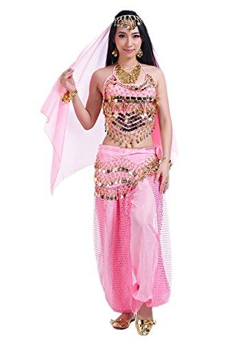 men Orientalische Halloween Kostüm Oberteil Schleier Hüfttuch Hose Rosa (Rosa Damen-halloween-kostüm)