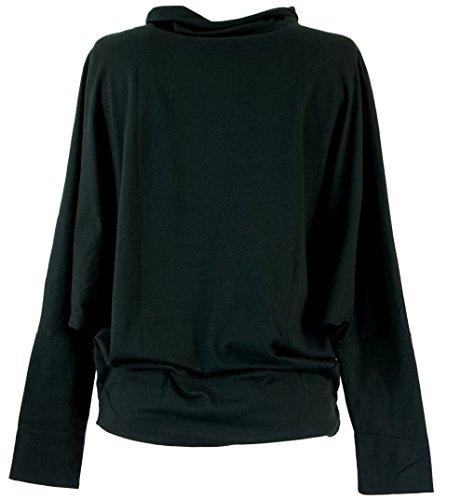 Guru-Shop Langarmshirt Boho Chic, Damen, Baumwolle, Pullover, Longsleeves & Sweatshirts Alternative Bekleidung Schwarz