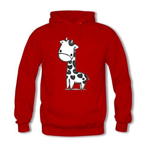 HGLee Printed DIY Custom Giraffe Women's Hoodie Hooded Sweatshirt Red--2