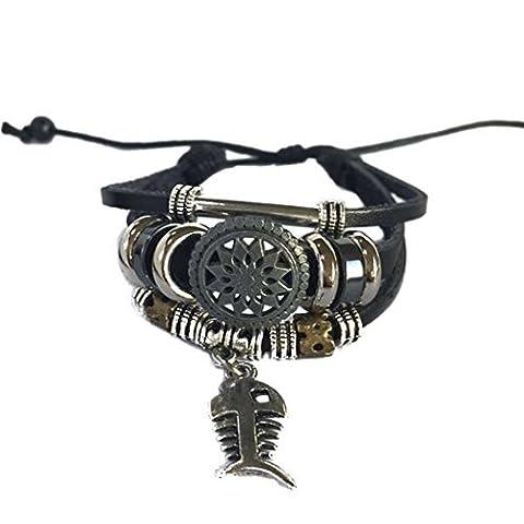 Véritable Spark Unisexe vintage Fleur Bracelet en métal arête de poisson Bracelet cuir