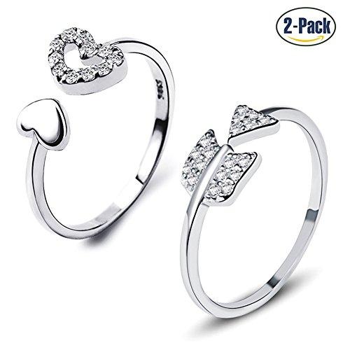 Set di 2 anelli in argento sterling 925 da donna con zirconia cubica che creano un cuore e una freccia, anelli di fidanzamento aperti che calzano stretti ma regolabili per uomini e donne, da Gilind