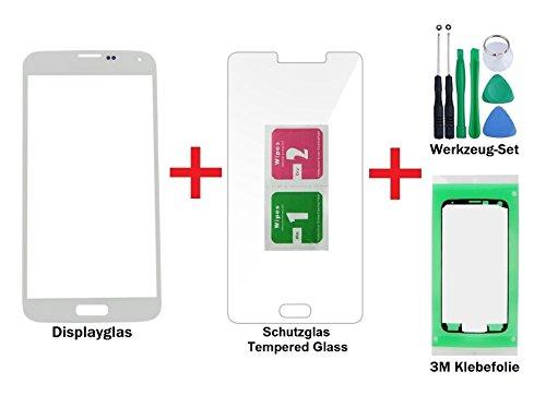 iTG® PREMIUM Displayglas Reparatur-Set für Samsung Galaxy S5 Weiss - Oleophobic Front Display Glas für SM-G900F G901F G903F LTE NEO + Tempered Glass Displayschutz, Werkzeug-Set und 3M Klebefolie