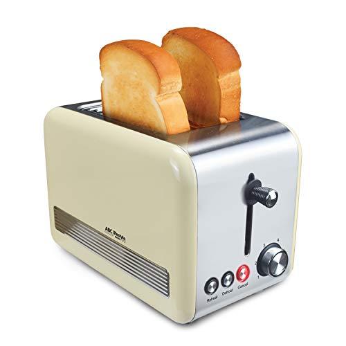 Retro-Design Toaster mit Krümelschublade, ABC Lifestyle Edelstahl 2-Slice-Slot Toaster, Auto-Pop-Up-Toaster, Abbrechen/Auftauen-Funktion, herausnehmbarer Brötchenwärmer, Creme