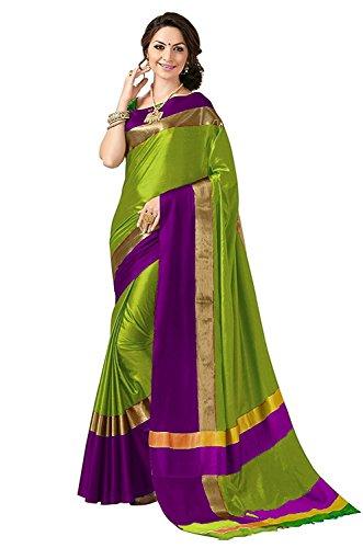 Best Collection Women`s Art Silk Saree With Blouse Piece (Parrot Green)