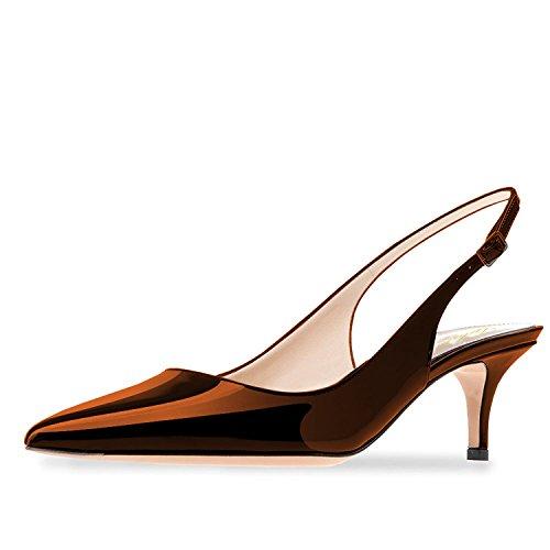 Lutalica Frauen Kitten Heel Spitze Patent Slingback Kleid Pumps Schuhe für Party Patent Braun Größe 41 EU (Brown-frauen-kleid-schuhe)